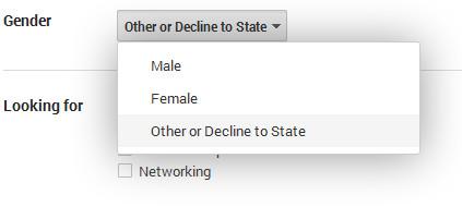 Google+ gender options