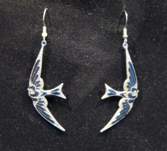 Swallows drop earrings