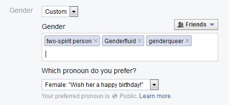 Facebook's custom gender options